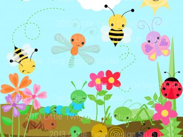 Clipart spring garden png freeuse library Garden Bug Friends Digital Clipart, clip art collection   Spring ... png freeuse library