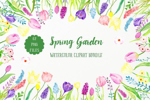 Clipart spring garden clipart free Watercolor Spring Garden Bundle, pink tulip, yellow daffodils and spring  flower collection clipart free