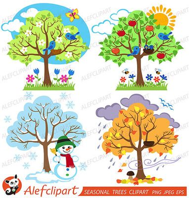 Winter melting into spring clipart clip art transparent Four Seasons Trees Clipart and Vector with Spring, Summer, Fall and ... clip art transparent