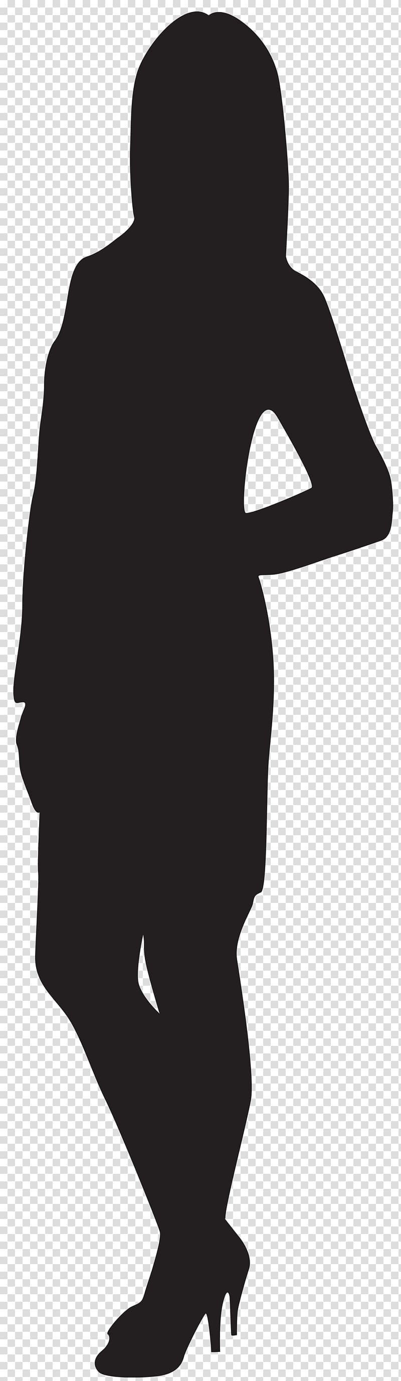 Clipart standing women dress black and white salon transparent library Silhouette of woman, Black and white Human behavior Shoulder, Female ... transparent library