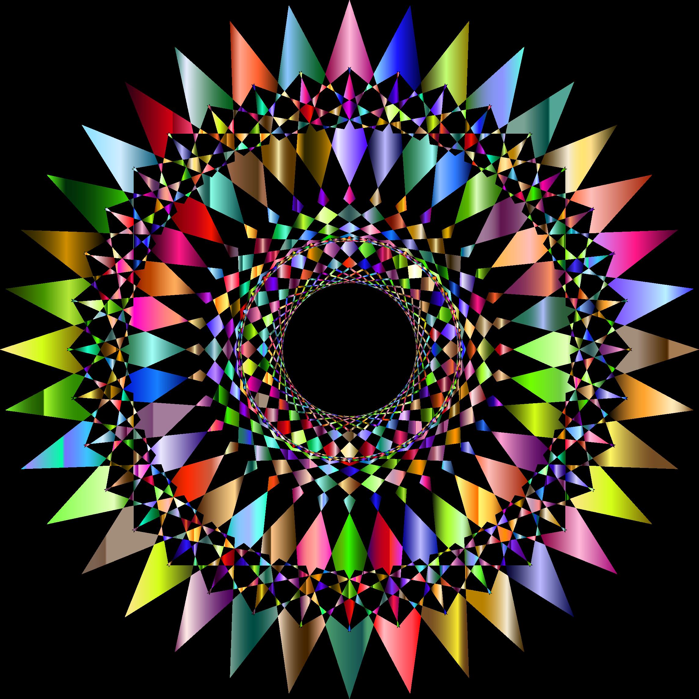 Decorative star clipart. Prismatic checkered no background