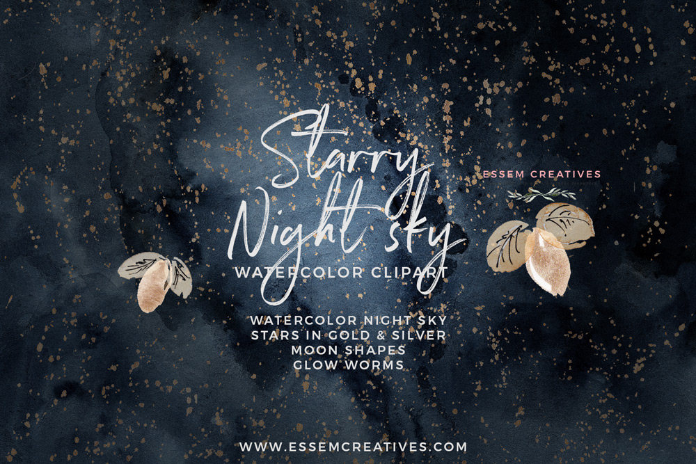 Clipart starry night clip art transparent library Celestial Starry Night Sky Watercolor Clipart clip art transparent library