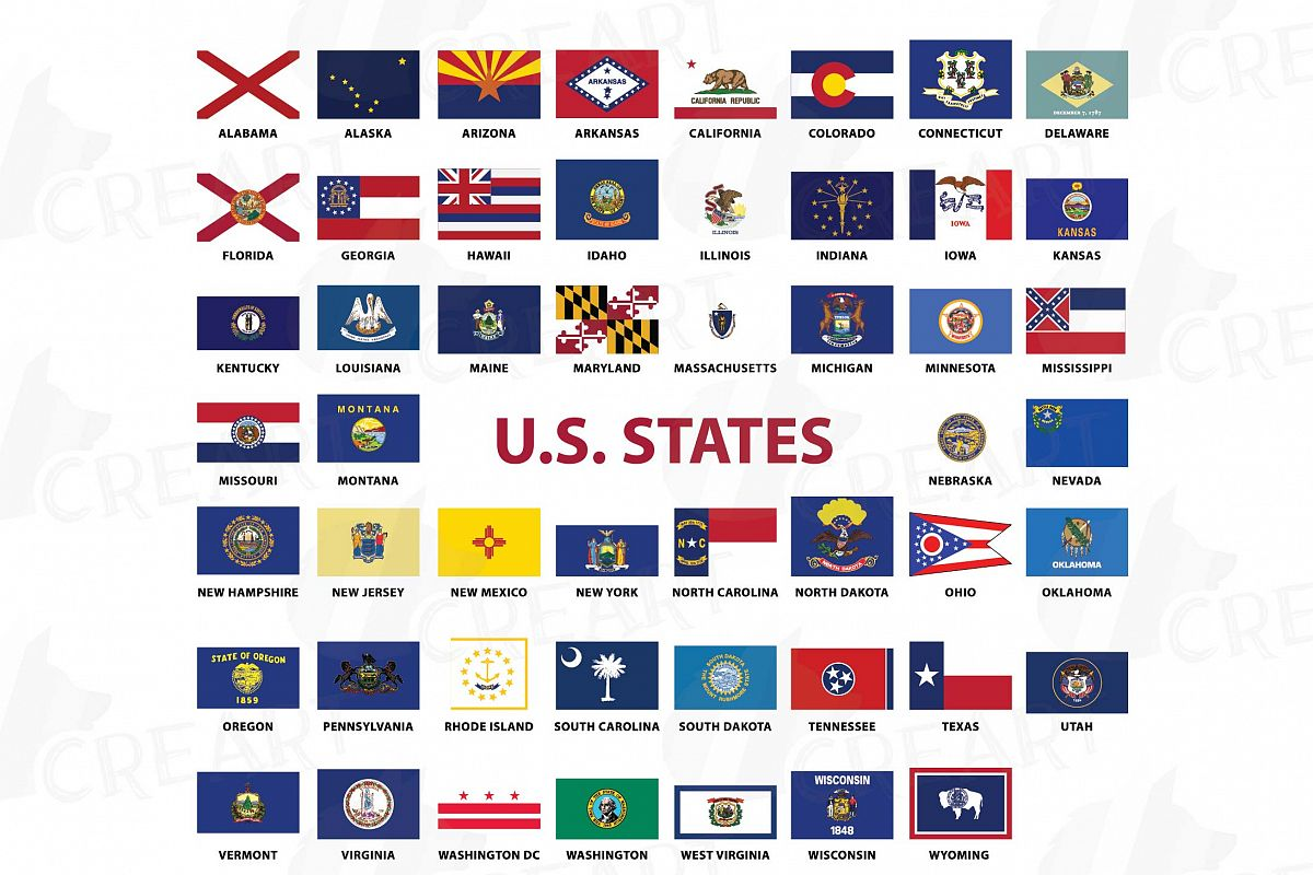 Clipart state flags graphic black and white library USA Capital and States flags Clip Art collection for Print graphic black and white library