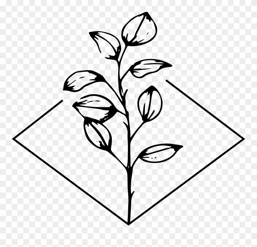 Clipart stem and leaf pattern black and white transparent stock Flower With Stem Clip Art Black And White - Png Download (#3108539 ... transparent stock