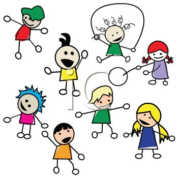 Clipart stick children image free A Bunch of Stick Kids Playing | Clipart Panda - Free Clipart Images image free