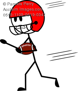 Clipart stick figures sports svg free stock Clip Art Image of a Stick Figure Football Player Running With the Ball svg free stock