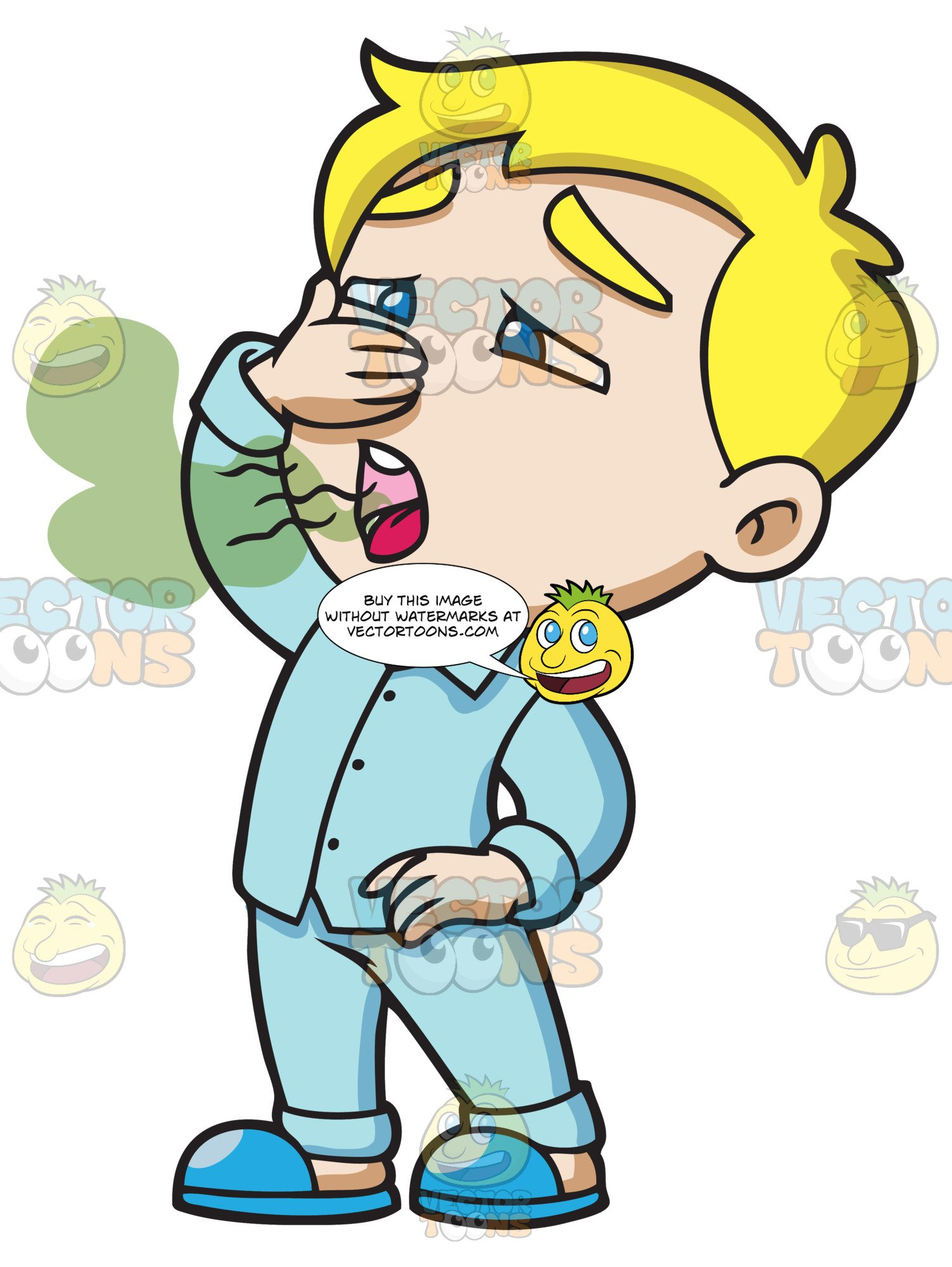 Clipart stinky clipart freeuse A Boy Avoids Inhaling His Stinky Breath clipart freeuse