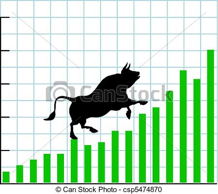 Clipart stock market graph vector black and white stock Vector Clipart of Up bull market rise bullish stock chart graph ... vector black and white stock