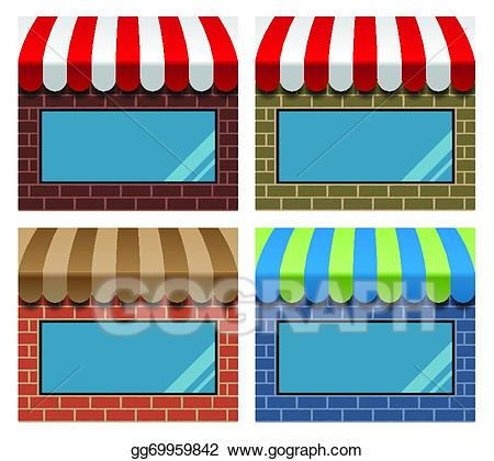 Clipart storefronts jpg freeuse stock Vector Art - Storefront with awning. EPS clipart gg69959842 - GoGraph jpg freeuse stock