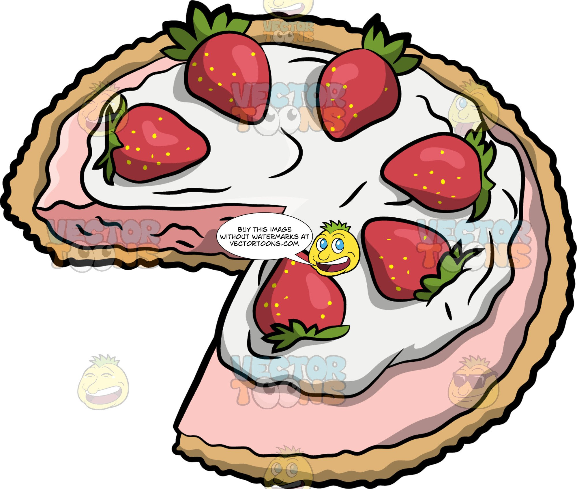 Clipart strawberry pie vector royalty free A Strawberry Cream Pie vector royalty free