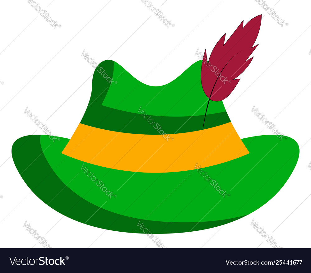 Yellow and green hat clipart vector freeuse download Clipart a green hat stuck with a feather or vector freeuse download