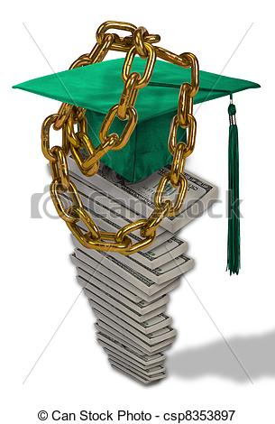 Clipart student loan vector stock Stock Illustrations of Student Loan Debt. - Chain down by student ... vector stock
