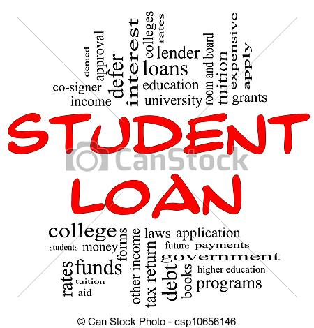 Clipart student loan transparent Stock Photo of Student Loan Word Cloud Concept in red & black ... transparent