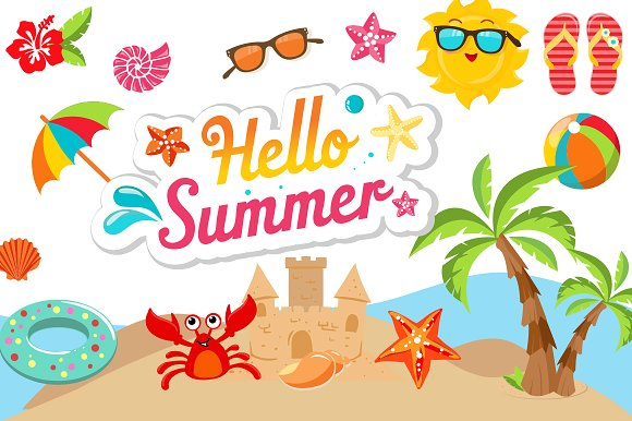 Clipart summer pictures image royalty free library Summer Clipart Bundle - 126 cliparts image royalty free library