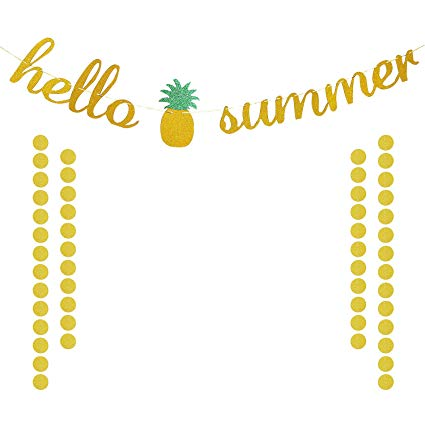 Clipart summerbanner svg download Amazon.com: Hello Summer Banner Gold Glittery, Summer Decor, Summer ... svg download