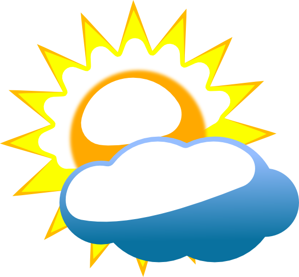 Snow and sun clipart png royalty free Cloudy Sun Clip Art at Clker.com - vector clip art online, royalty ... png royalty free