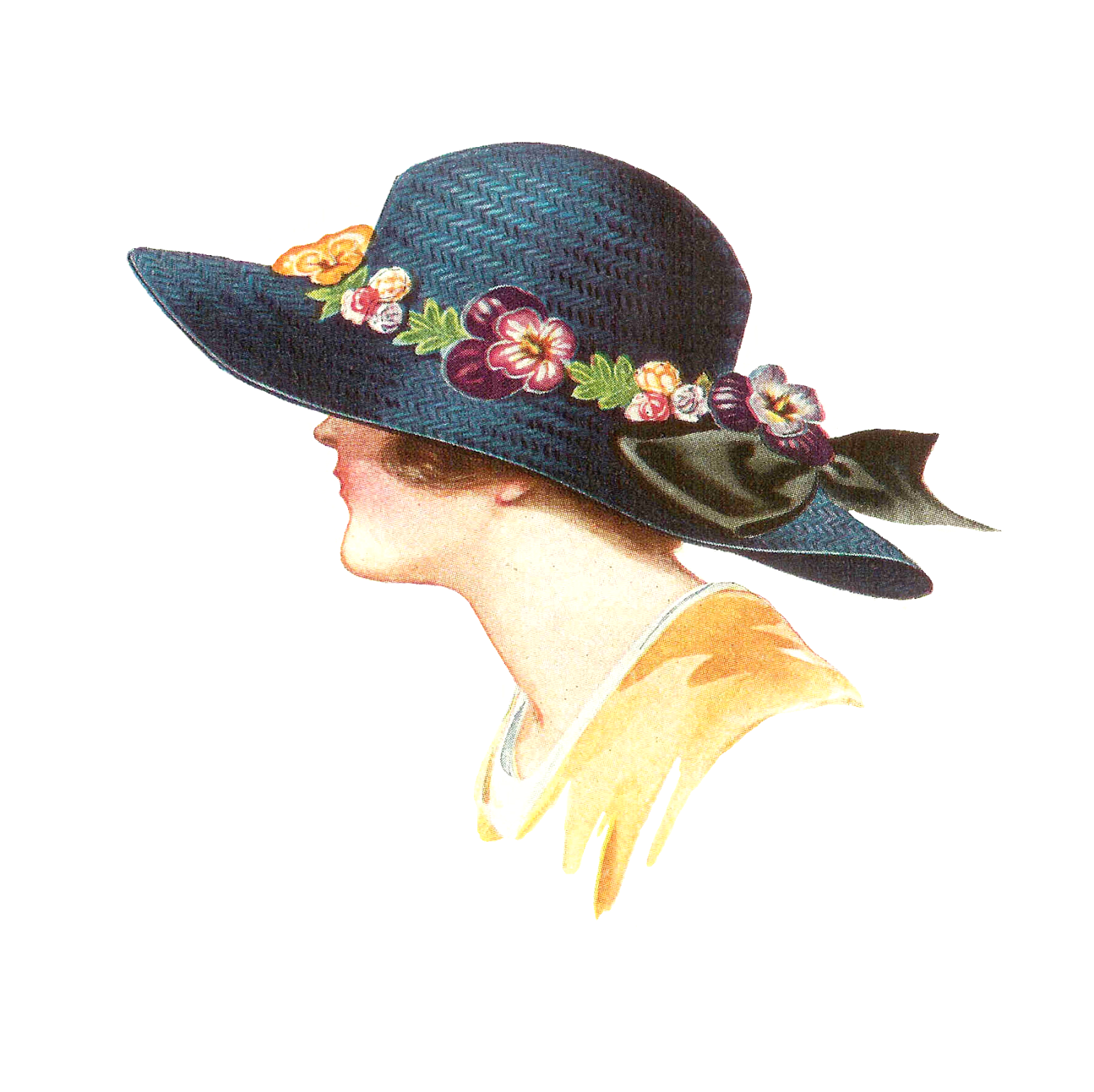 Clipart sun hats image royalty free stock Antique Images: Free Hat Fashion Clip Art: 1915 Women's Spring Hat ... image royalty free stock