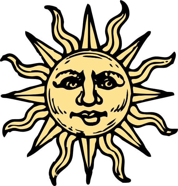 Sun face clipart graphic black and white stock Sun Woodcut Clip Art at Clker.com - vector clip art online, royalty ... graphic black and white stock