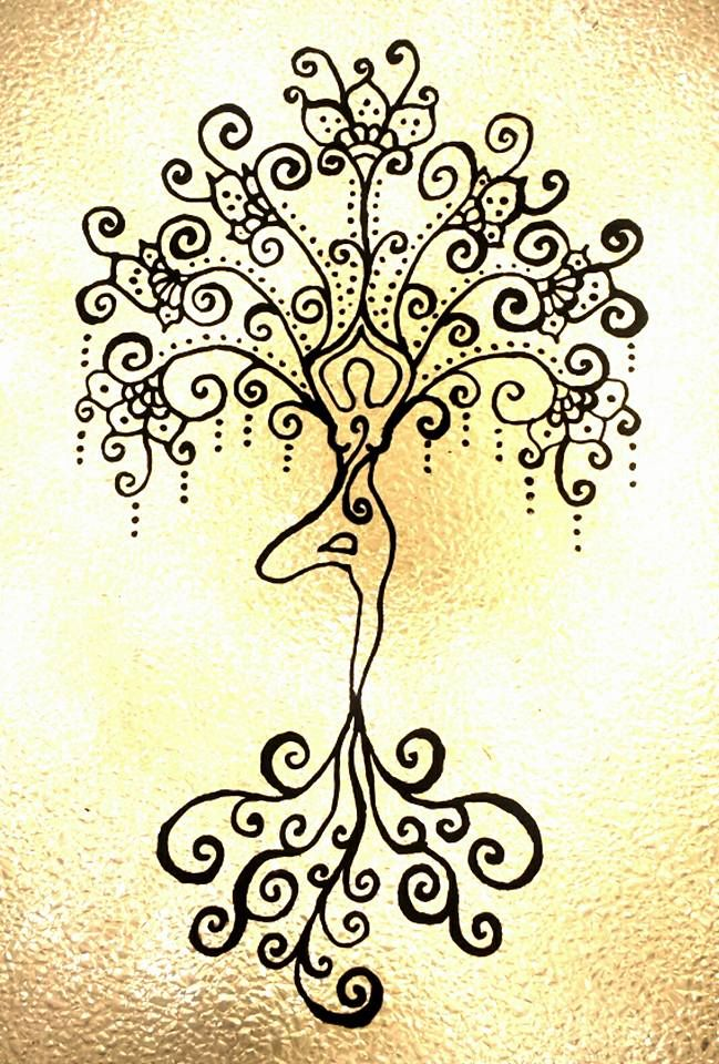 Clipart sunflower yoga tree blonde hair clip free Yoga art. Tree pose. Glass painting. Henna inspired. Chantelle ... clip free