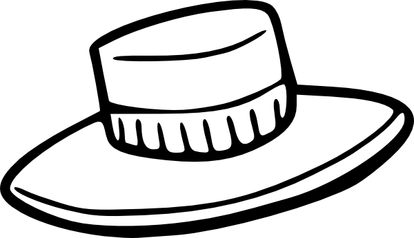 Straw hat black and white clipart