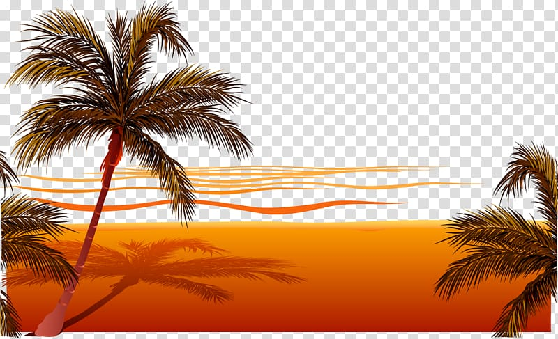 Palm beach party background sunset clipart
