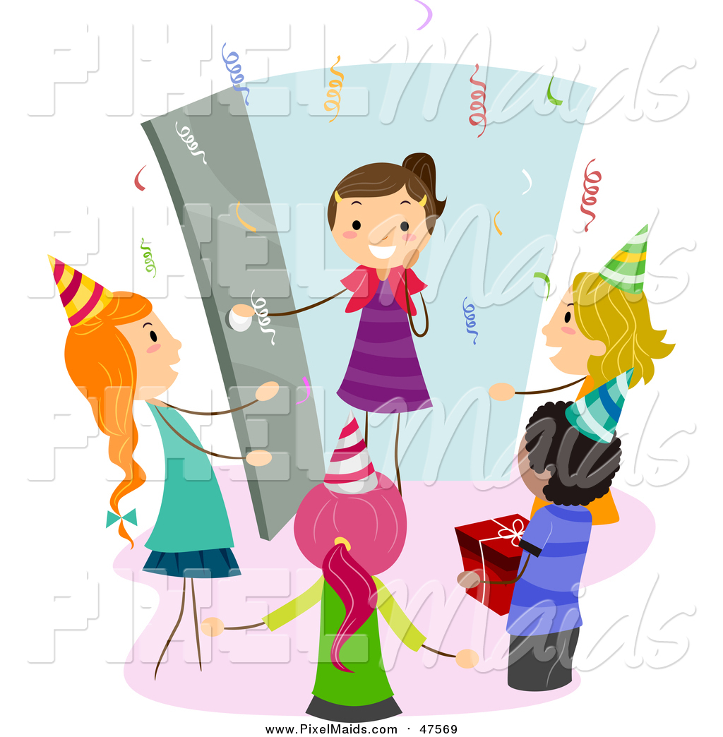 Surprise birthday pictures clipart png royalty free library Clipart of a Happy Girl Arriving at a Surprise Birthday Party by BNP ... png royalty free library