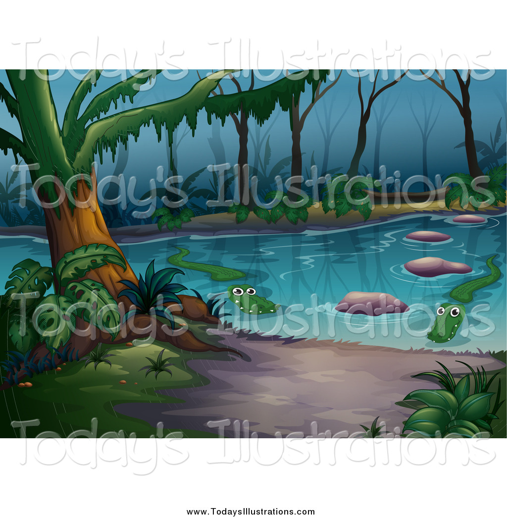 Clipart swamp clip transparent stock Clipart of a Swamp with Alligators by Graphics RF - #8596 clip transparent stock
