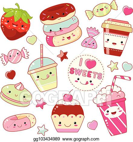 Clipart sweet clipart library library Vector Clipart - Set of cute sweet icons in kawaii style. Vector ... clipart library library