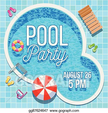 Clipart swimming pool party png black and white library Vector Stock - Summer party invitation with swimming pool vector ... png black and white library