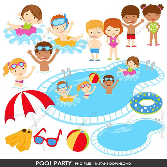 Clipart swimming pool party graphic transparent Pool Party Clipart, Summer Clipart, Pool Clip Art, Beach Clipart ... graphic transparent
