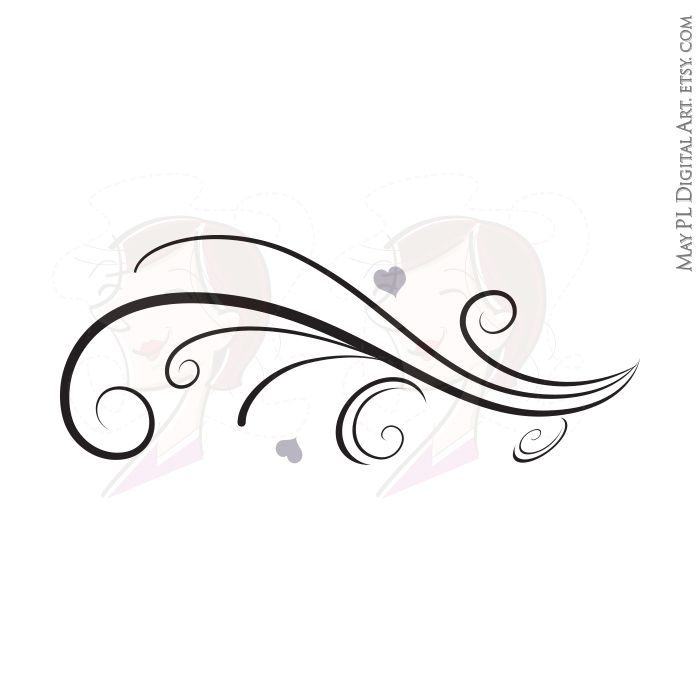 Clipart swirls and curls clipart royalty free library Vintage Horizontal Curved Flourish Curls Beautiful Borders Swirl ... clipart royalty free library