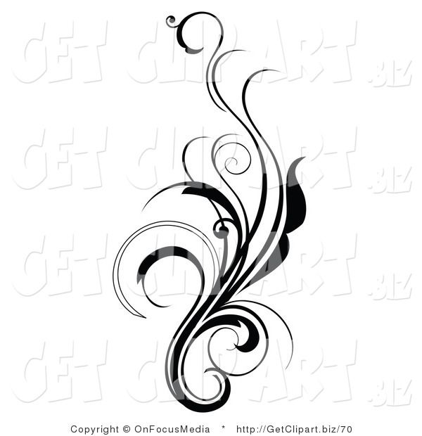 Clipart swirls and curls jpg royalty free Elegant Swirl Designs | Clip Art of an Elegant and Curly Black and ... jpg royalty free