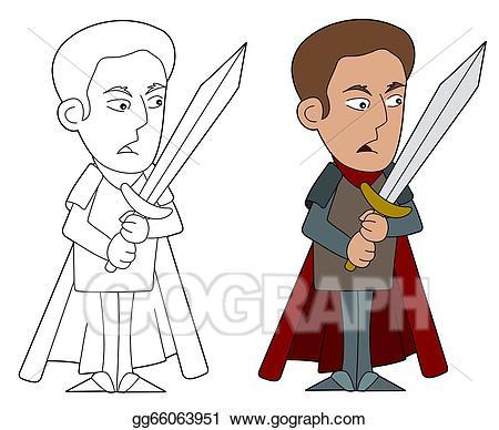 Clipart swordsman picture black and white download EPS Vector - Cartoon swordsman. Stock Clipart Illustration ... picture black and white download