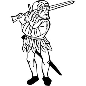 Clipart swordsman image black and white Swordsman clipart, cliparts of Swordsman free download (wmf, eps ... image black and white