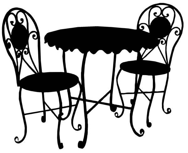 Clipart table and chairs at a restarante png library download Pin by Amanda Bancroft-Billings on stencils | Cafe furniture, Art ... png library download