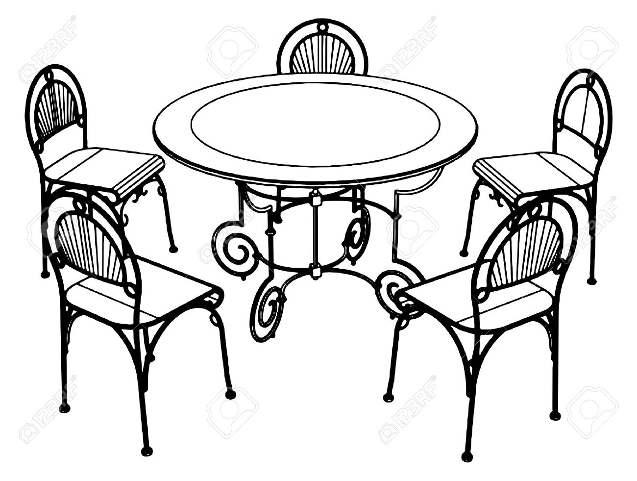 Clipart table and chairs at a restarante png transparent library Furniture Clipart Black And White | Free download best Furniture ... png transparent library