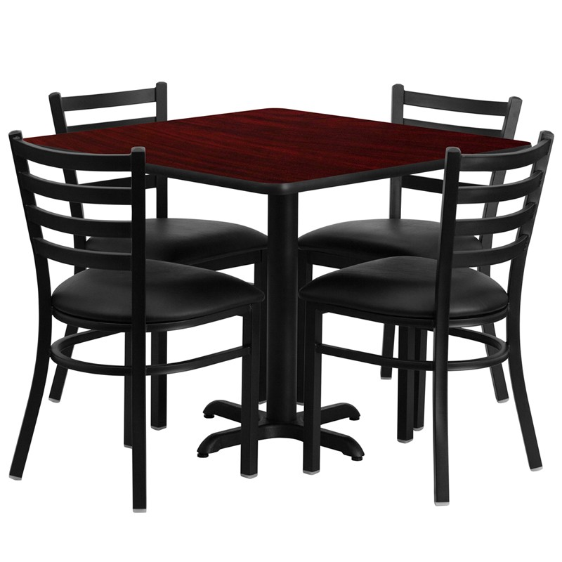 Clipart table and chairs at a restarante jpg royalty free Flash Furniture 36\'\' Square Mahogany Laminate Table Set with 4 Ladder Back  Metal Chairs - Black Vinyl Seat [HDBF1014-GG] jpg royalty free