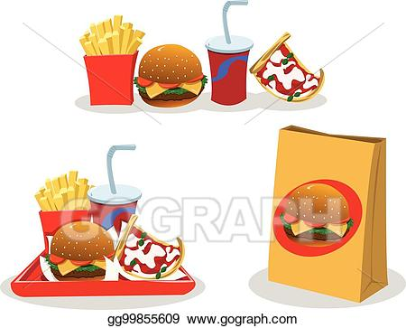 Take out food clipart vector transparent library Vector Illustration - Take away food. EPS Clipart gg99855609 - GoGraph vector transparent library