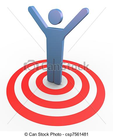 Clipart target symbol clip art royalty free library Clipart of 3d man succeed to the target - 3d man on target with ... clip art royalty free library