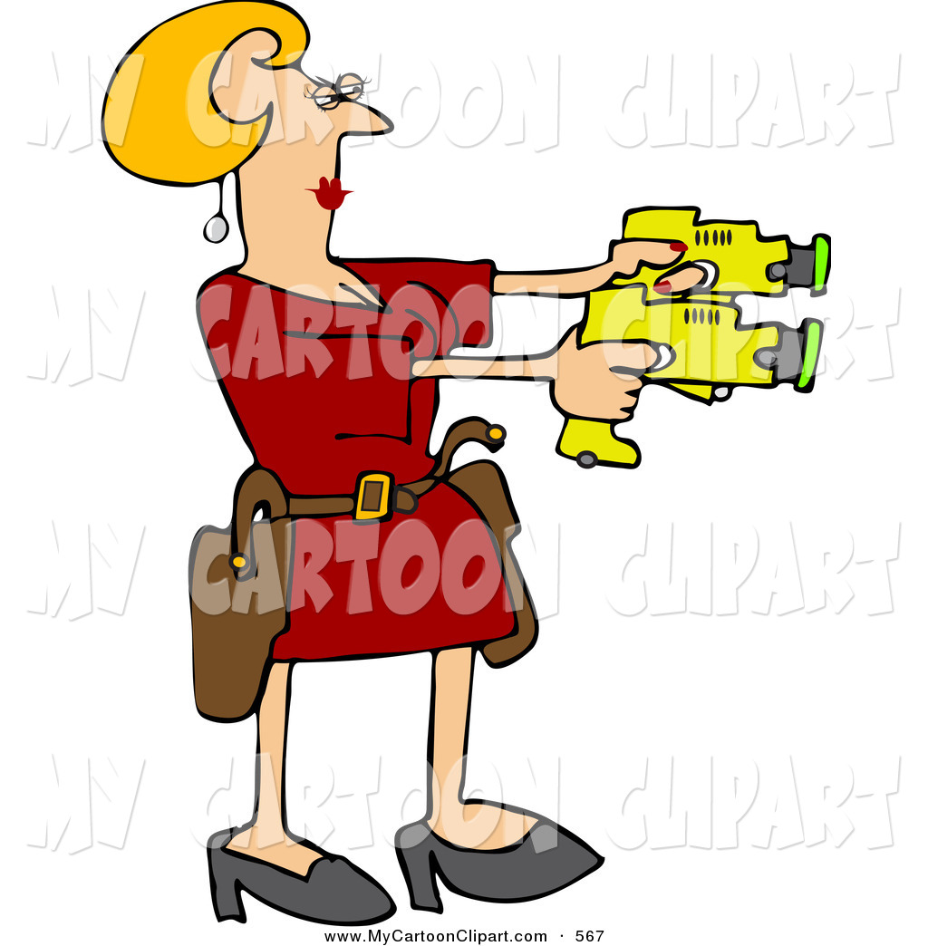 Clipart taser picture freeuse download Clip Art of a Blond Woman Drawing Two Taser Guns to the Right by ... picture freeuse download