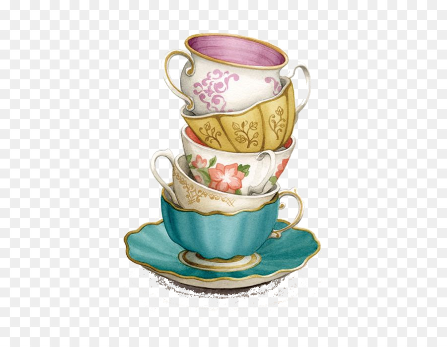 Stacked teacups clipart