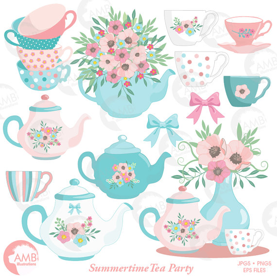 Tea pot with succulent clipart jpg black and white stock Tea Time Clipart, Teapot, Summer Time Tea Party Clipart, Floral Tea ... jpg black and white stock