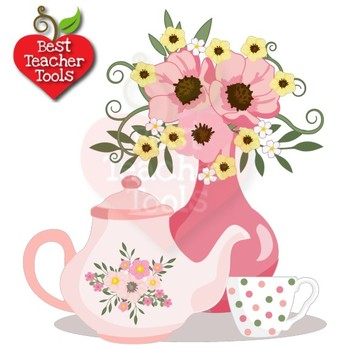 Clipart tea time vector library Tea Time Clipart, Valentine Days Clipart, Tea Party, Tea Pot Art, AMB-1981 vector library