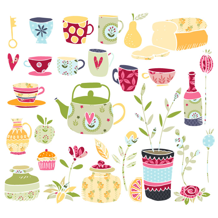 Clipart tea time banner library download Tea Time Vector Clipart Illustrations banner library download