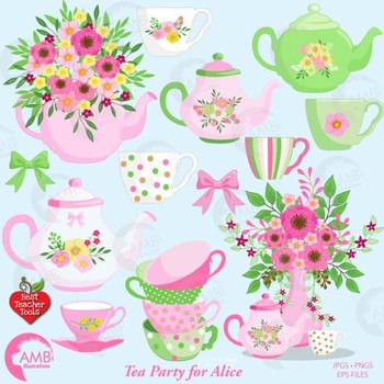 Clipart tea time clipart royalty free library Tea Time Clipart, Shabby Chic Clipart, Mad Hatter Tea Party Clipart,  AMB-1960 clipart royalty free library