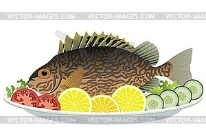 Clipart teller mit essen svg library Fisch und rohes Gemüse auf Teller - Vektor-Design svg library