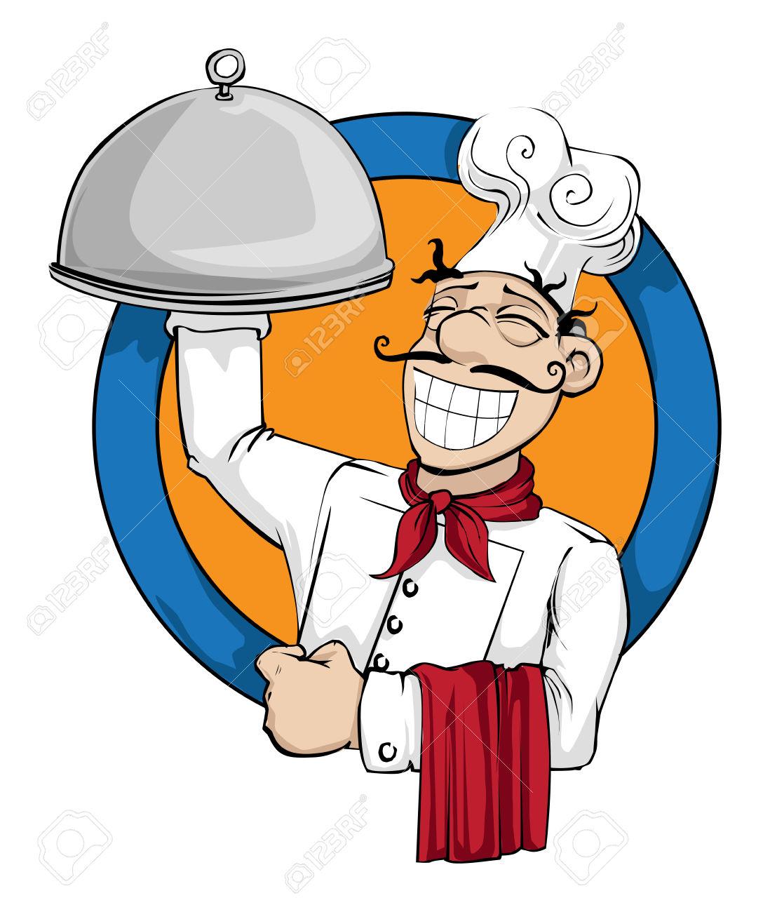 Clipart teller mit essen picture royalty free stock Chef Mit Einem Riesigen Teller Mit Essen Lizenzfrei Nutzbare ... picture royalty free stock