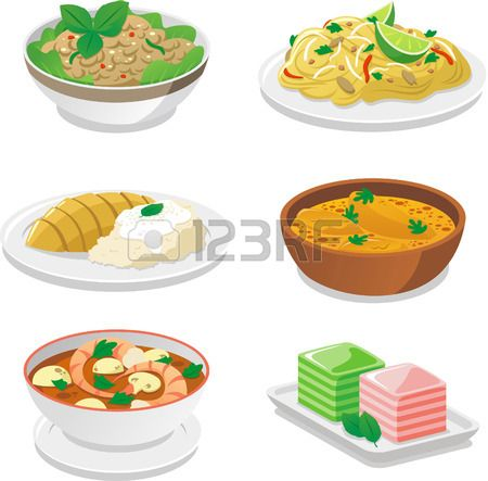 Clipart thai food banner freeuse library Stock Vector | cutie clipart in 2019 | Thai food dishes, Thai ... banner freeuse library