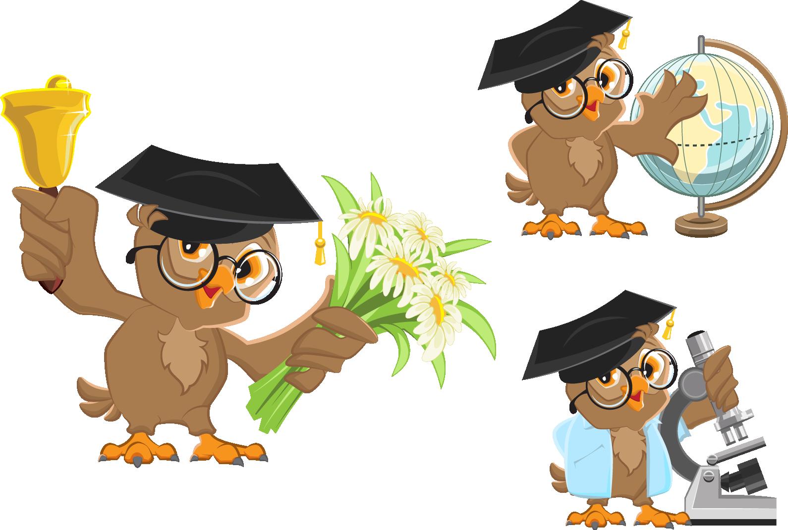 Clipart thanksgiving owls graphic free library School bell Clip art - Cartoon owl teacher 1590*1070 transprent Png ... graphic free library