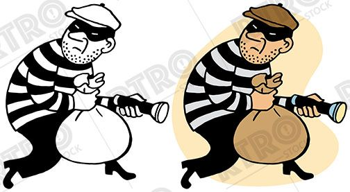 Clipart theif download A robber sneaks off with a bag of loot vintage retro clipart clip ... download